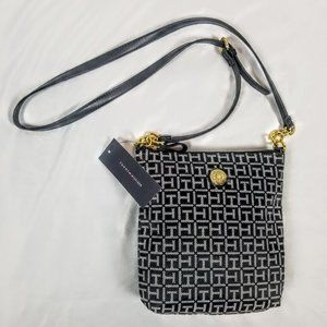 Tommy Hilfiger Black Monogram Canvas Crossbody Bag